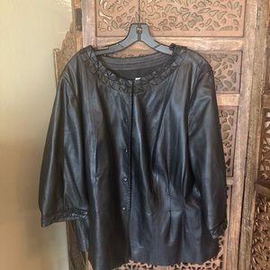 Like New Saks 5th Avenue Black Leather Jacket 18